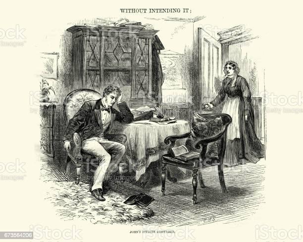 Victoriaanse Man Verstoord Door Zijn Huishoudster Tijdens Het Schrijven Van Een Brief 1872 Stockvectorkunst en meer beelden van 1870-1879