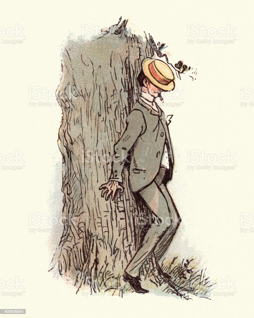 victorien homme qui se cache derrière une cigarette de tabac darbre