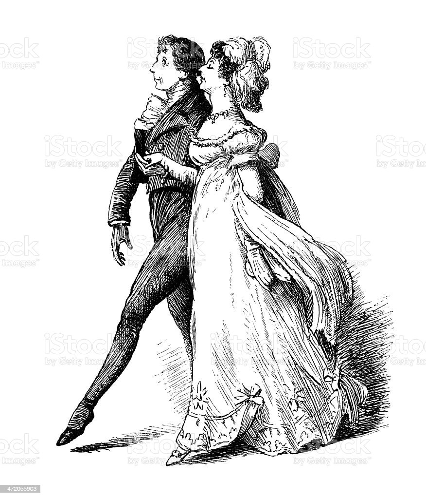 Victorian man leading a lady out to dance vector art illustration