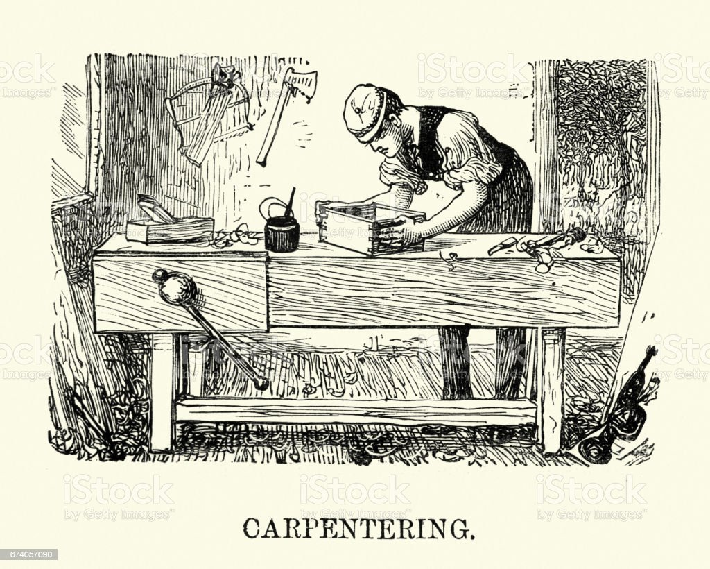 Victorian man practicing Carpentry royalty-free victorian man practicing carpentry stock vector art & more images of 1880-1889