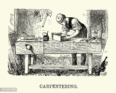 Vintage engraving of young victorian man practicing Carpentry