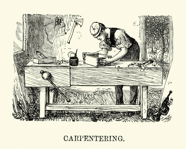 victorian man practicing carpentry - carpenter stock illustrations, clip art, cartoons, & icons
