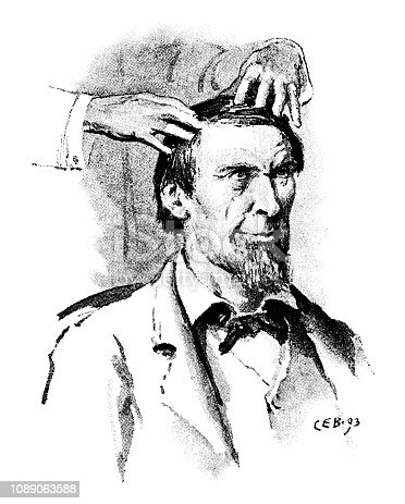 "A nineteenth century man - who looks strangely like Abraham Lincoln - being given a head massage. From ""The Humour of America - Selected, with an Introduction and index of American Humorists, by James Barr. Illustrations by C.E. Brock"". Published in 1893 by Walter Scott Ltd, London."