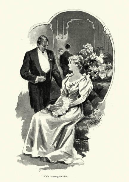 Victorien homme parler à une jeune femme lors d'une fête, années 1890 - Illustration vectorielle