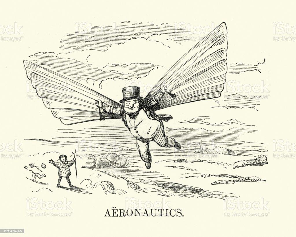 Hombre victoriano intentando volar, c. 1880 - ilustración de arte vectorial