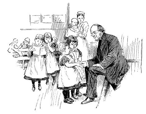 Victorian man with a nurse and children