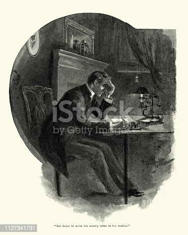 Vintage engraving of Victorian man wrting a letter, 1890s, 19th Century