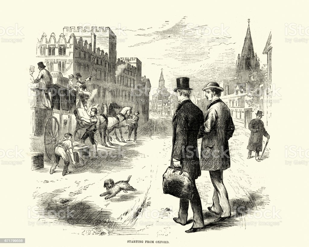 Victorian men setting off from Oxford by Stagecoach vector art illustration