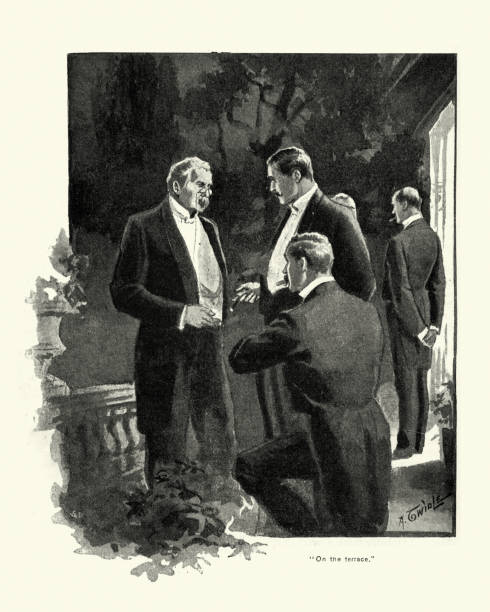 victorian men smoking cigars on the terrace after dinner party - old man smoking cigar stock illustrations, clip art, cartoons, & icons