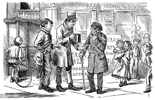 Victorian homens conversando na rua do lado de fora de um pub