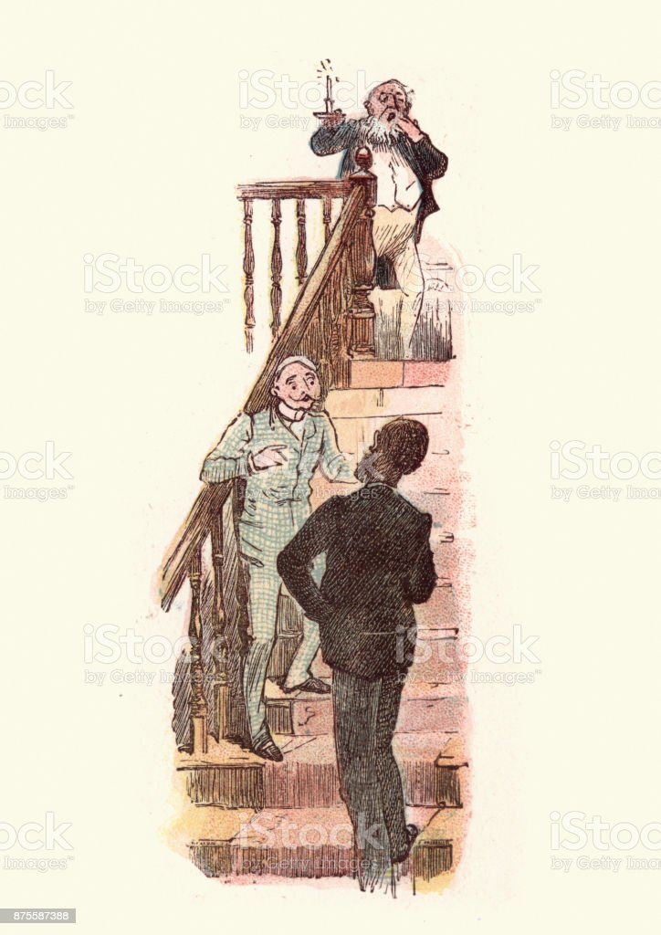 Victorian men talking on a staircase vector art illustration