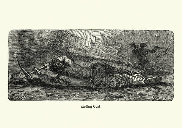 Victorian miner laid on his side holing coal, 19th Century vector art illustration
