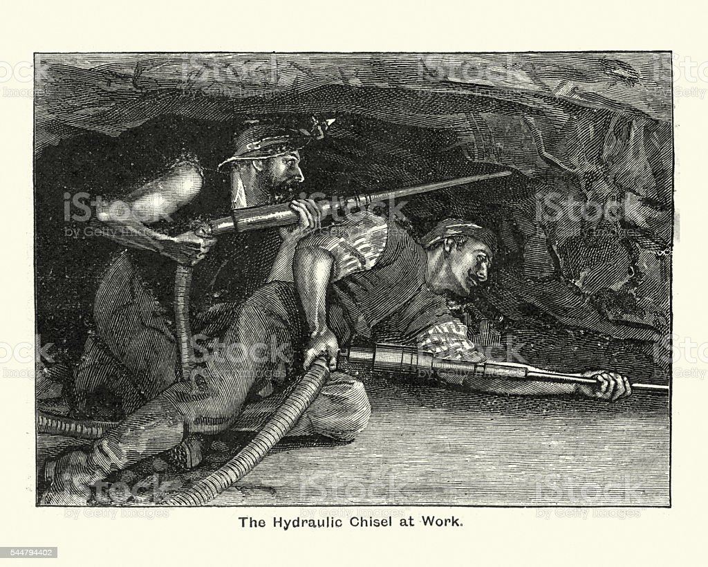 Victorian miners using hydraulic chisels, 1894 vector art illustration