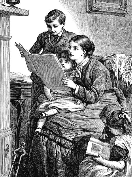 stockillustraties, clipart, cartoons en iconen met victoriaanse moeder en kinderen samen lezen - woman home magazine