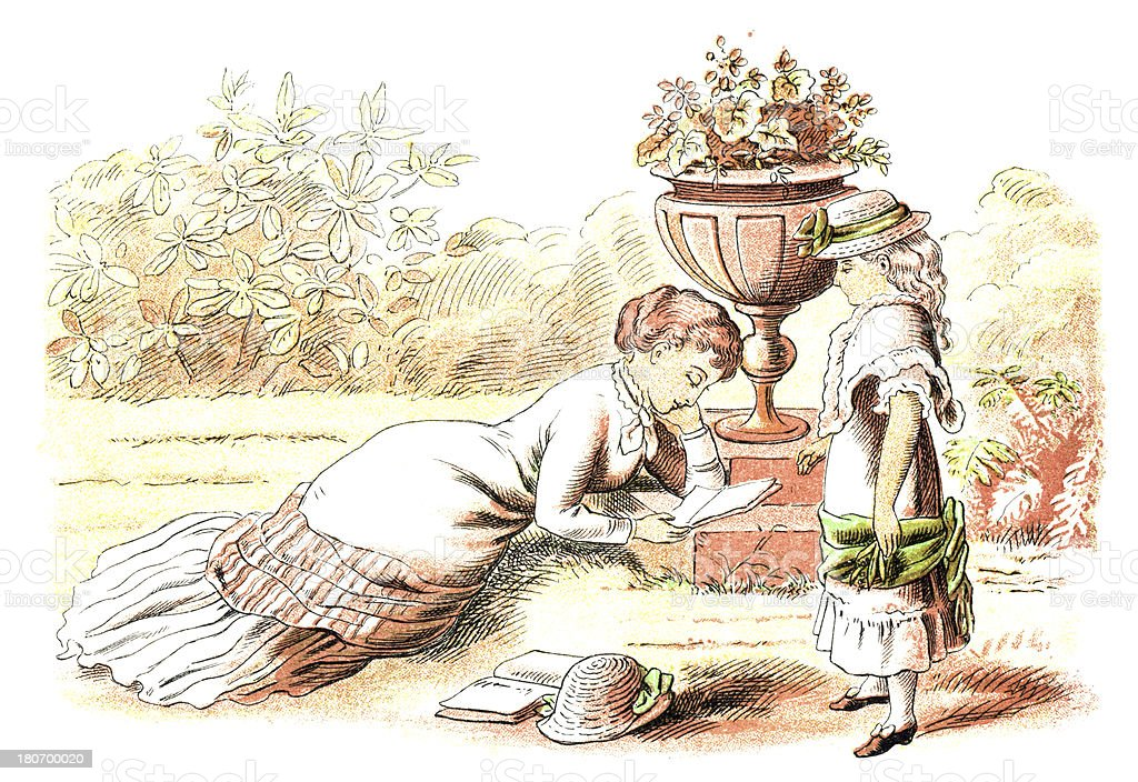 Victorian mother and daughter relaxing in a garden royalty-free victorian mother and daughter relaxing in a garden stock vector art & more images of 1880-1889