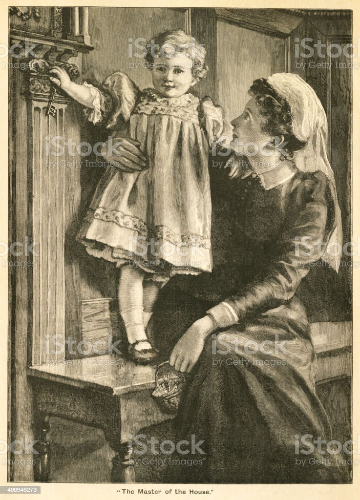 Victorian mother holding a little boy royalty-free stock vector art
