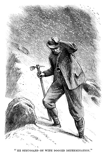 """A Victorian walker struggling through the snow in clothing totally unsuited to mountaineering - though he does have an ice axe. From """"The Family Friend - with illustrations by First-class Artists"""". Published by SW Partridge & Co, London, in 1877."""