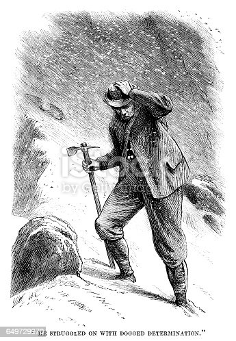 "A Victorian walker struggling through the snow in clothing totally unsuited to mountaineering - though he does have an ice axe. From ""The Family Friend - with illustrations by First-class Artists"". Published by SW Partridge & Co, London, in 1877."
