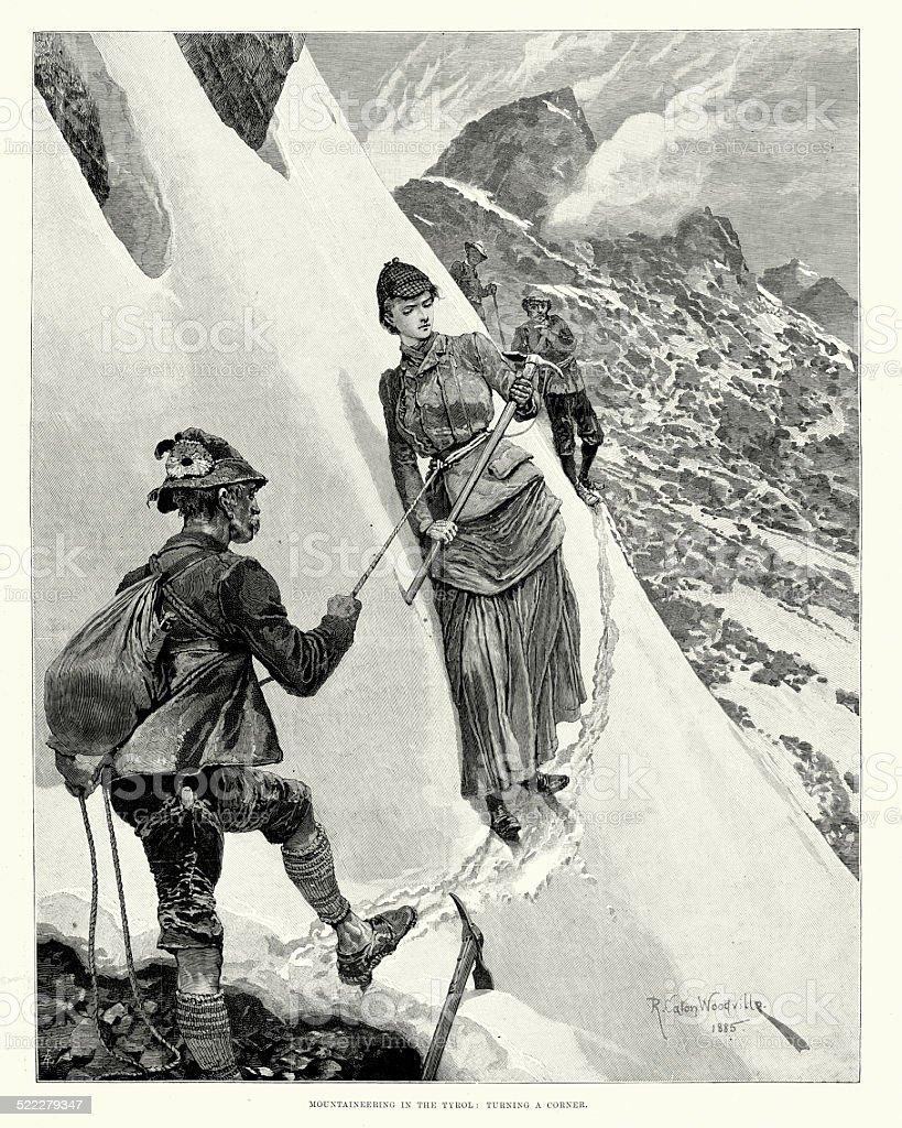 Victorian Mountaineering in the Tyrol vector art illustration
