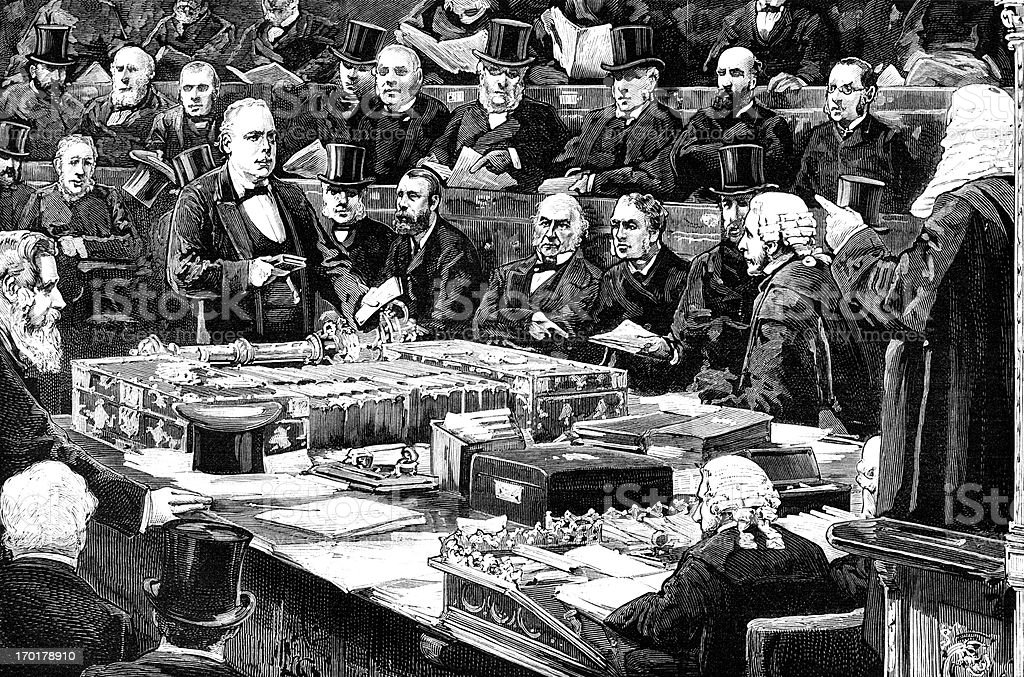 Victorian MP taking an oath in the House of Commons royalty-free stock vector art