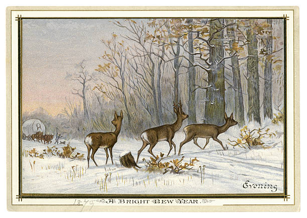 pictures of deer tracks in snow clip art vector images illustrations wood vintage vector art illustration victorian new year