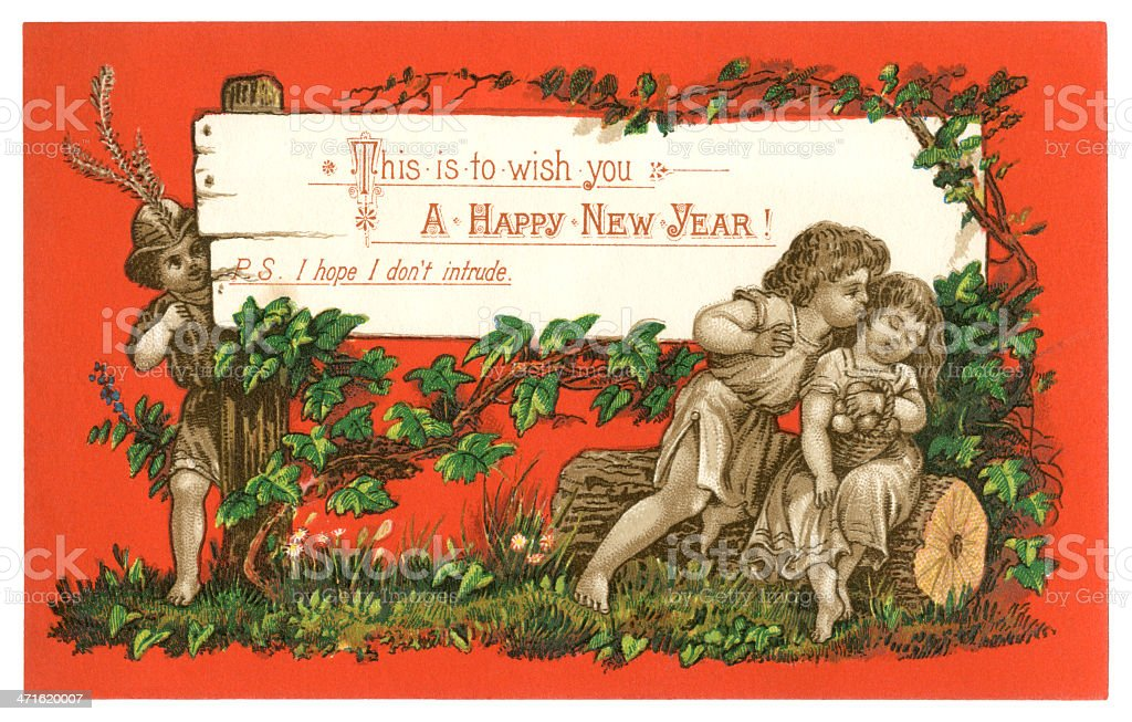 Victorian New Year card, 1879 royalty-free stock vector art