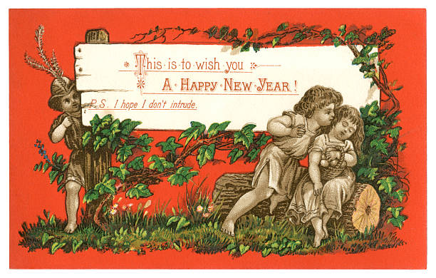victorian new year card 1879 vector art illustration