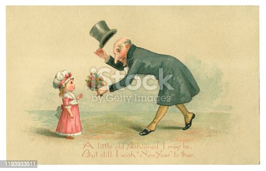 """A Victorian New Year greetings card from 1883 showing an elderly gentleman bowing, doffing his top hat and presenting a posy of flowers to a cute little girl. He tells her, """"A little old fashioned I may be, But still I wish 'New Year' to thee""""."""
