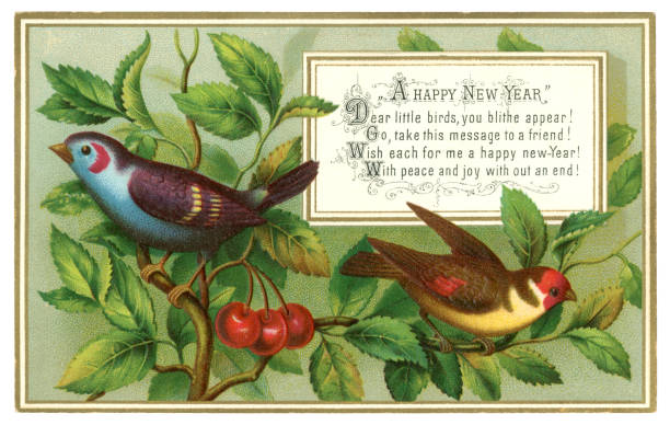Victorian New Year card with colourful birds and cherries, 1880 A Victorian New Year card sent in 1880 with a cheerful verse and an illustration of colourful birds sitting amongst cherries on a tree. 1880 stock illustrations