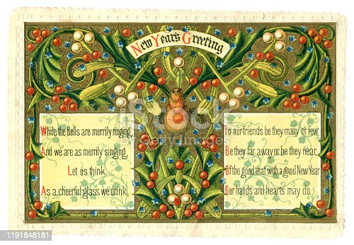 A Victorian New Year greeting card (dated 1871 on the reverse) which depicts a triumphant-looking robin surrounded by mistletoe and holly berries with little blue flowers and two panels containing verse.