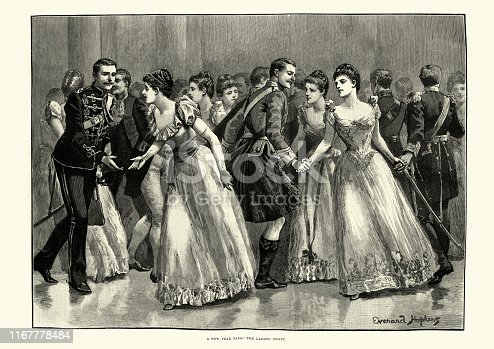 Vintage engraving of Victorian New Years Ball, Dancing the Ladies' chain, 19th Century