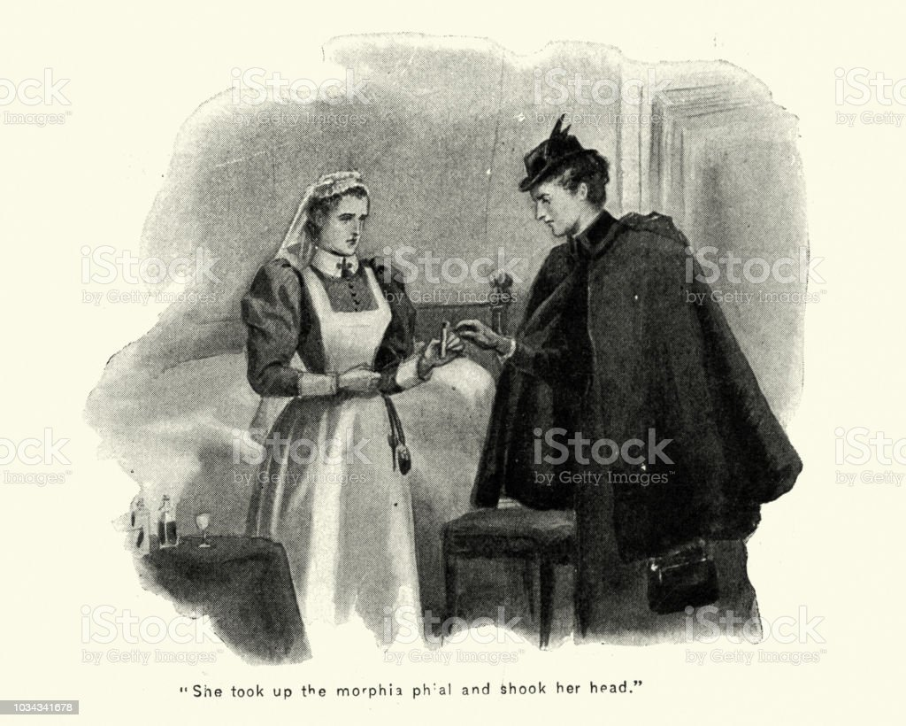 1939f215a0b Victorian Nurse Holding A Phial Of Morphine Late 19th Century Stock ...