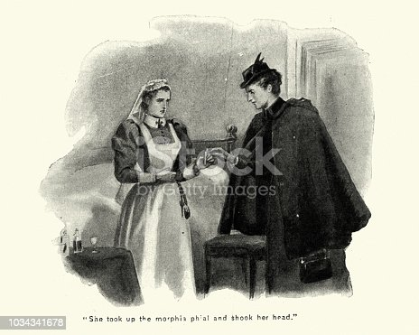 Vintage engraving of a Victorian nurse holding a phial of morphine, late 19th Century