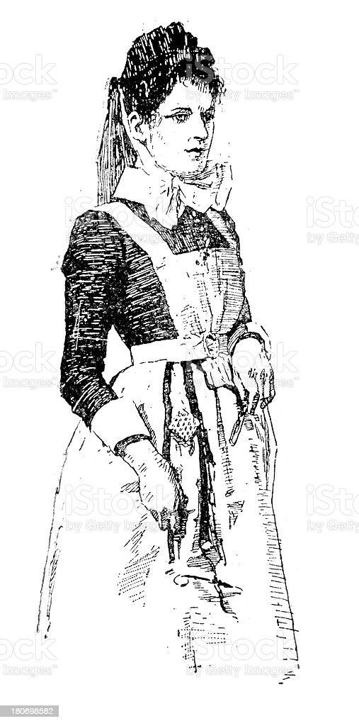 Victorian Nurse royalty-free stock vector art