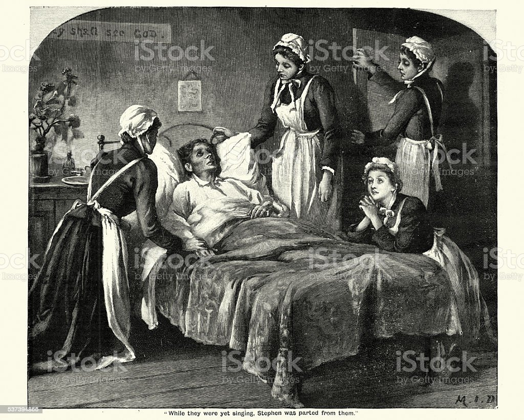 Victorian nurses caring for a dying man Vintage engraving of Victorian nurses caring for a dying man suffering from Tuberculosis Tuberculosis Bacterium stock illustration