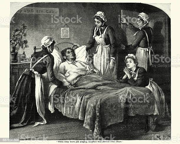 Victorian Nurses Caring For A Dying Man Stock Illustration - Download Image Now