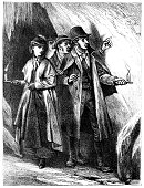 A group of Victorian people finding their way through a cave with candles. From \