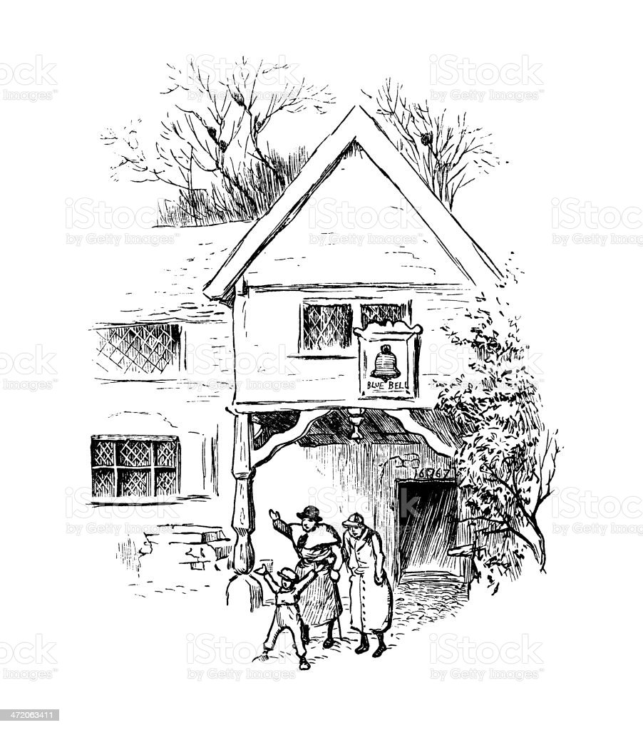 Victorian people outside an inn vector art illustration