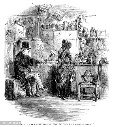 "A Victorian man and women shopping in a store which seems to stock all sorts of merchandise. A young lad is working behind the shop counter and the shop keeper is making it plain to a customer that she does not give credit - that everything must be paid for at the time of purchase. From ""The Cottager and Artisan, 1873"", published by The Religious Tract Society, London."