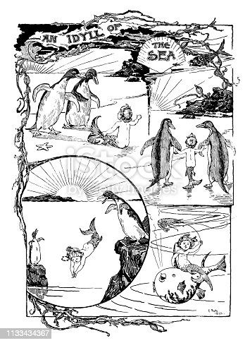 "A picture story from a 19th century publication which tells the tale of a small mermaid boy who has become stranded on a beach and is discovered by a pair of penguins who befriend him and take him back to the sea. From ""Little Folks - A Magazine for the Young"" published in 1894 by Cassell & Company Ltd., London, Paris and Melbourne."