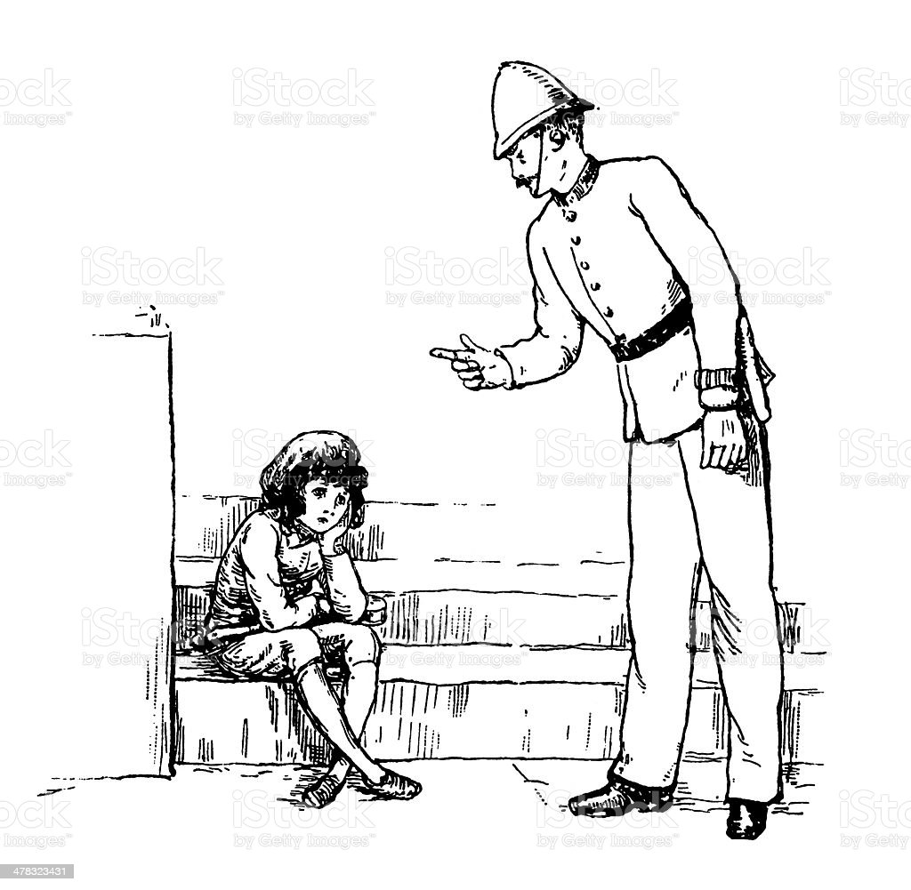 Victorian policeman talking to a small boy vector art illustration