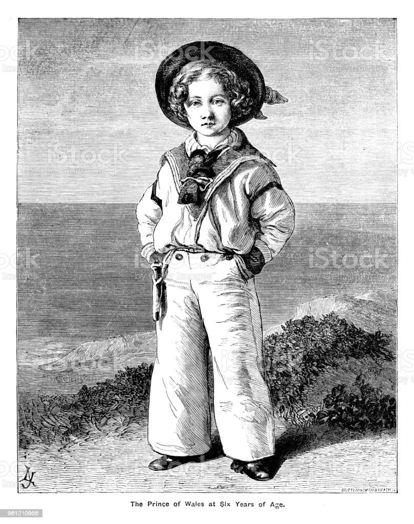 Victorian portrait of a young Prince of Wales in his sailor suit stood on the seashore complete with border and text; 19th century English monarchy and queens vector art illustration