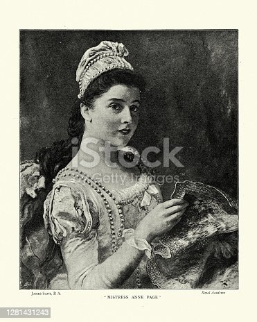 istock Victorian portrait of a Young woman, Mistress Anne Page 1281431243