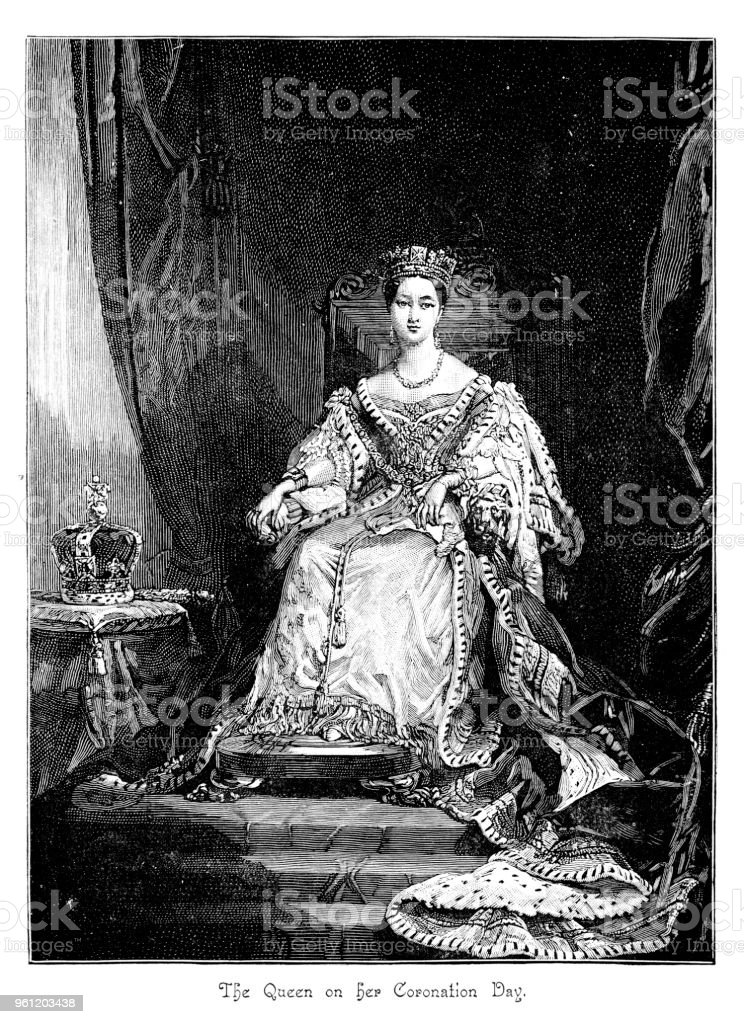 Victorian portrait of Queen Victoria on her throne on her Coronation Day; 19th century English monarchy and queens vector art illustration