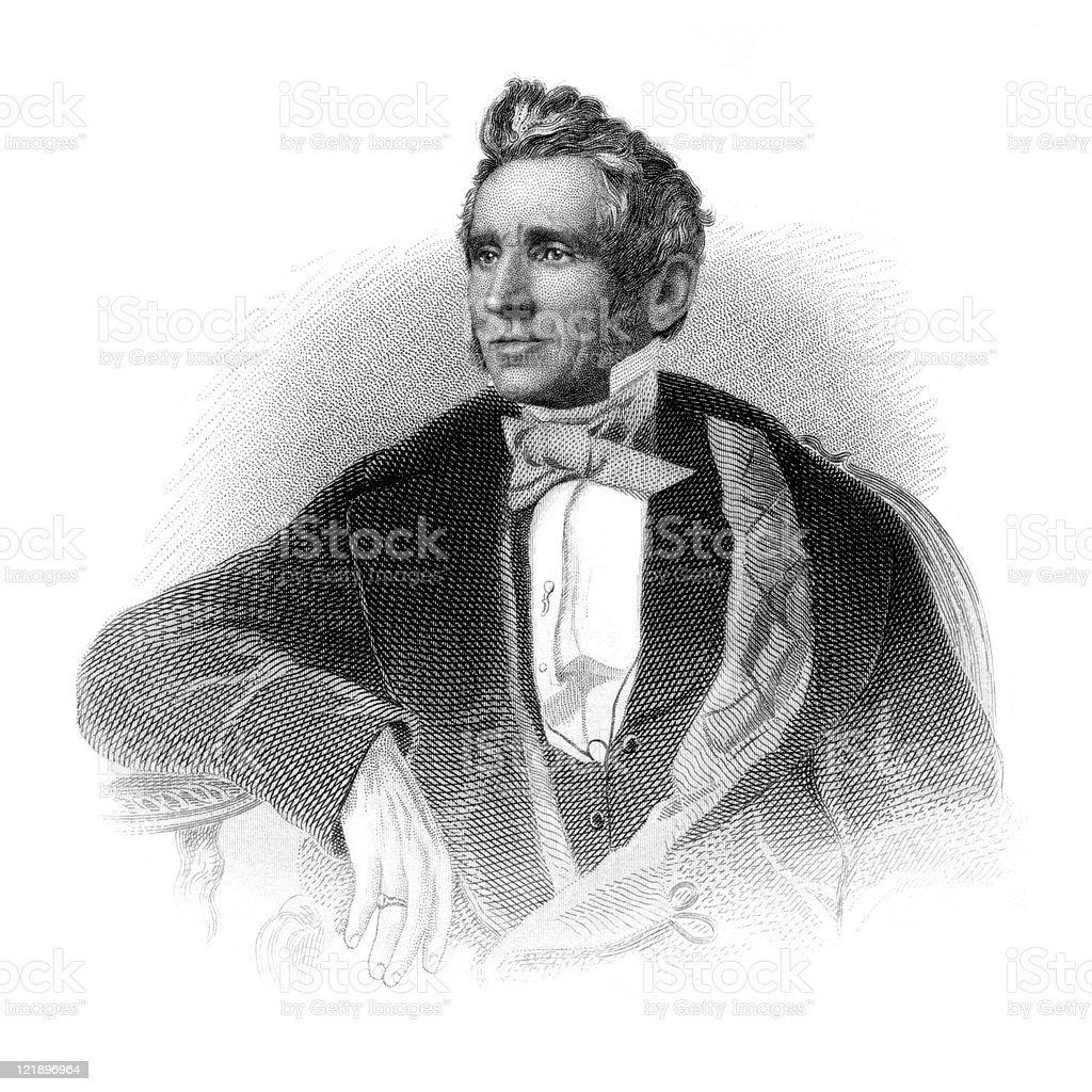Victorian Portrait of Rubber Inventor Charles Goodyear vector art illustration