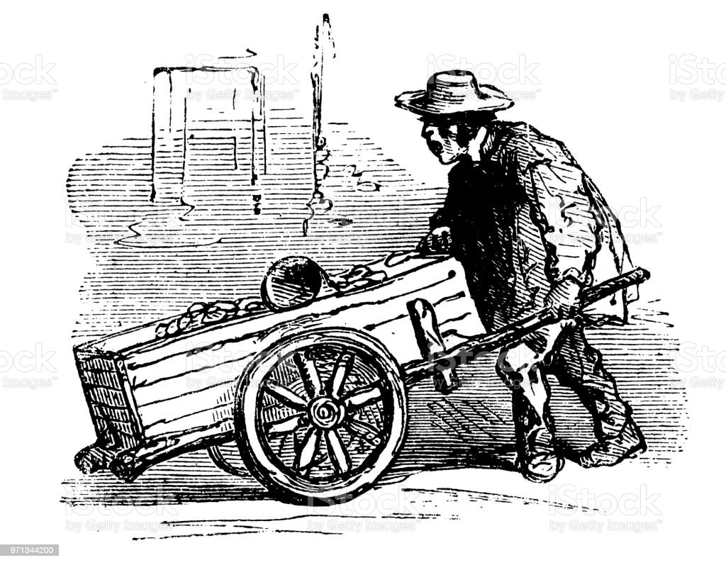 Victorian Potato seller vector art illustration
