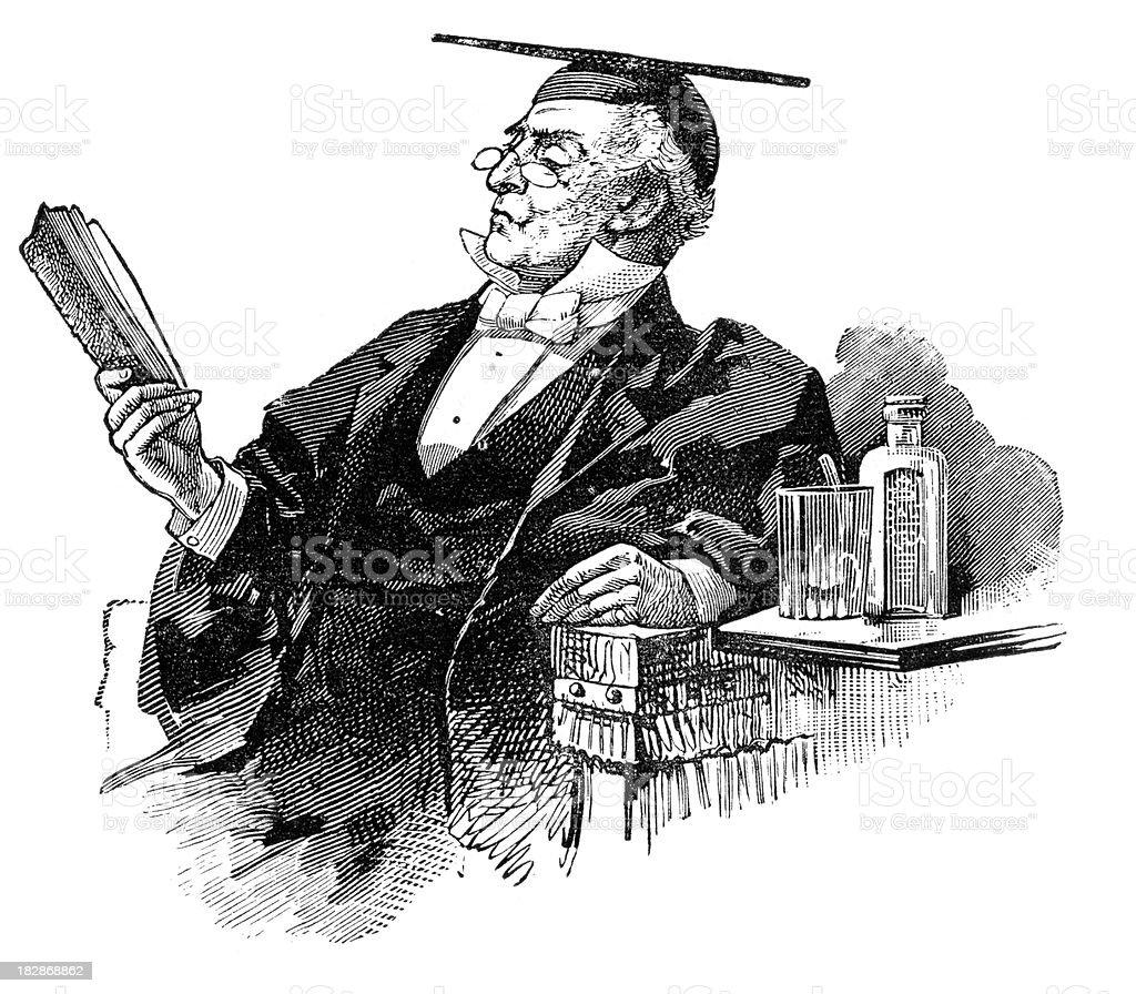 Victorian Professor vector art illustration
