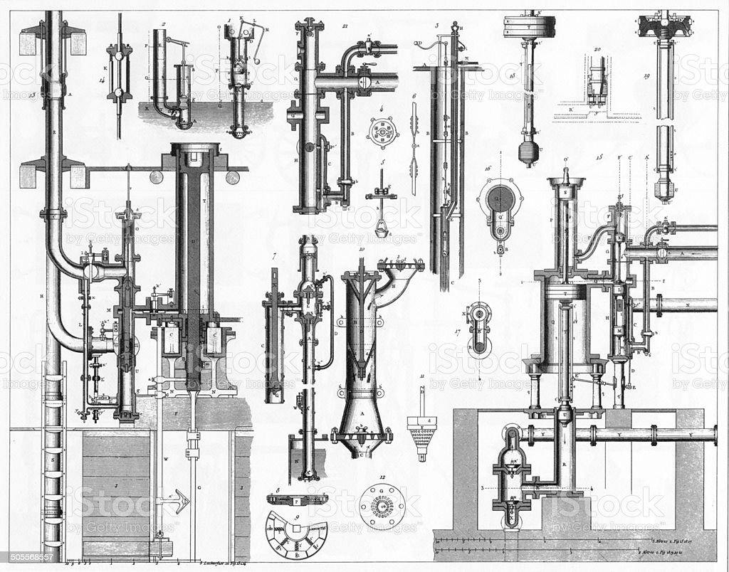 Victorian Pumping Devices Engraving vector art illustration