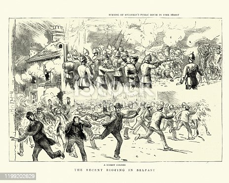Vintage engraving of Riots in Belfast, Burning of M'Closkey's Public House in York Street, 1886, 19th Century