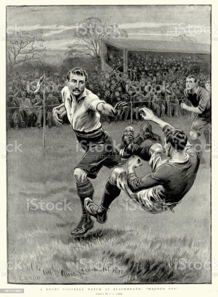 ビクトリアラグビーフットボールの試合で、ブラックヒース 1897 ベクターアートイラスト
